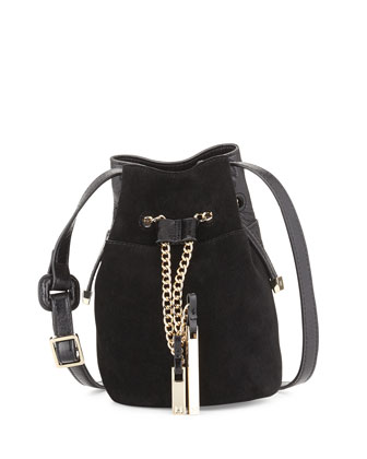Glazed Leather & Suede Bucket Bag, Black