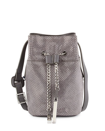 Metallic Leather Mini Bucket Bag, Dark Gravel