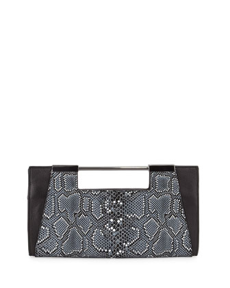 Mosaic Python-Embossed Leather Clutch Bag, Black Multi