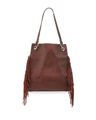 Wonder Fringed Tote Bag, Chocolate