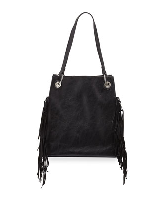 Wonder Fringed Tote Bag, Black