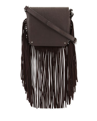 Monogram Sunset Fringe Bucket Bag, Black
