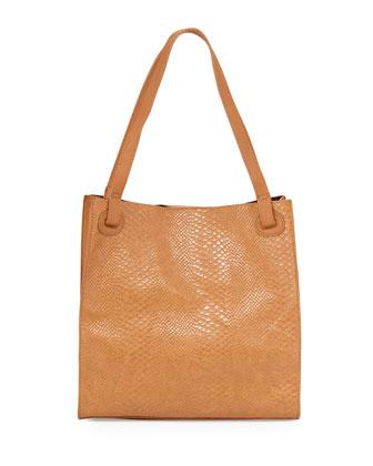 Python-Embossed Tote Bag, Camel