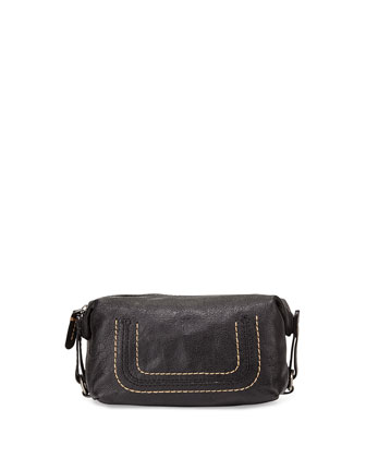 Anna Leather Cosmetic Case, Black
