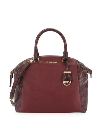 Riley Large Python-Embossed Satchel Bag, Merlot