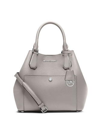 Greenwich Large Saffiano Grab Bag, Gray