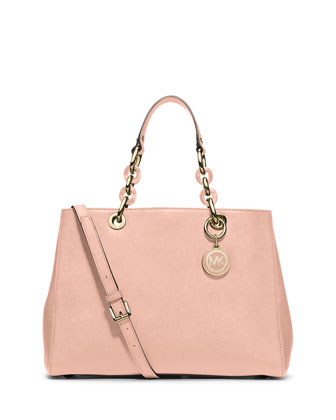 Cynthia Saffiano Medium Satchel Bag, Pastel Pink