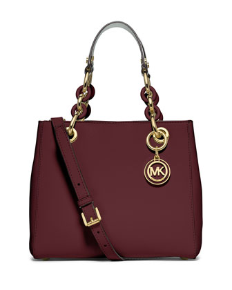 Cynthia Small North-South Satchel Bag, Merlot