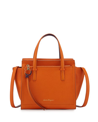 Amy Small Gancio Leather Tote Bag, Orange/Anemone