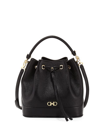 Millie New Gancini Icona Soft Bucket Bag, Nero