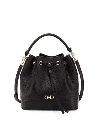 Millie New Gancini Icona Soft Bucket Bag, Nero