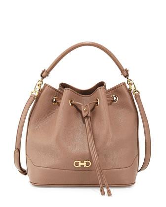 Millie New Gancini Icona Soft Bucket Bag, Nutmeg