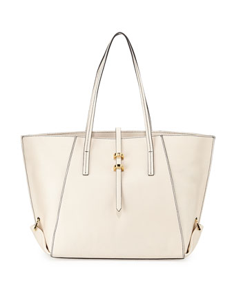 Eartha Leather Mini Shopper Tote Bag, White