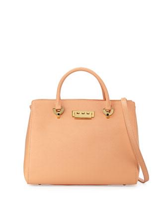 Eartha Leather Barrel Satchel Bag, Apricot