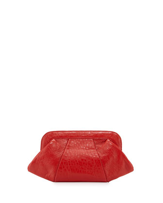 Tatum Leather Evening Clutch Bag, Fire