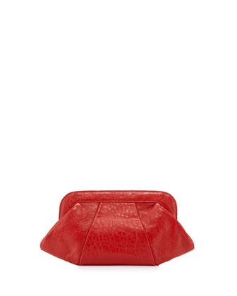 Tatum Leather Evening Clutch Bag, Fire