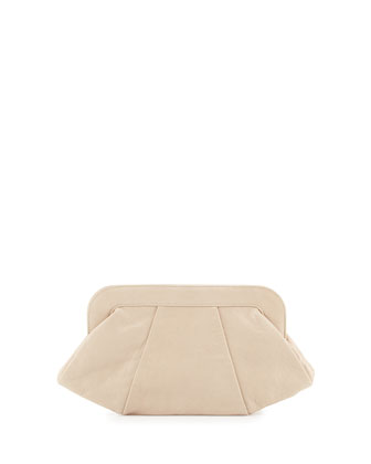 Tatum Leather Evening Clutch Bag, Cashmere