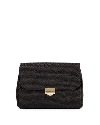 Mini Marlow Raffia Evening Clutch Bag, Black