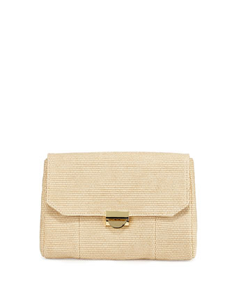 Mini Marlow Raffia Evening Clutch Bag, Natural