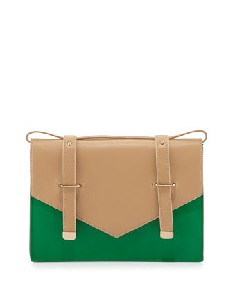 Maude Two-Tone Leather Shoulder Bag, Kelly