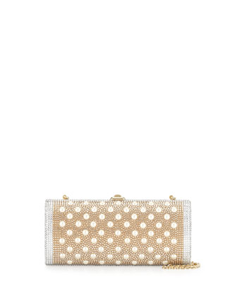 Gala Crystal Cylinder Clutch Bag, Champagne Multi
