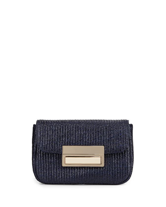Iris Raffia Evening Clutch Bag, Navy