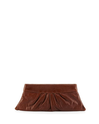 Louise Leather Evening Clutch Bag, Toffee