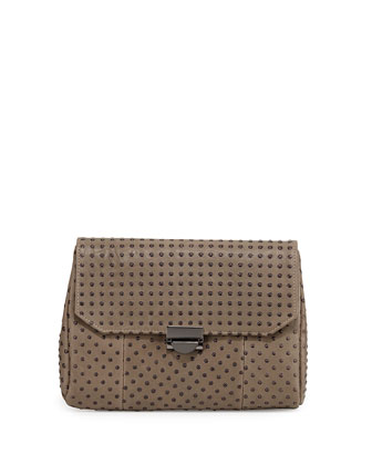 Mini Marlow Pebbled Leather Evening Clutch Bag, Taupe/Gunmetal