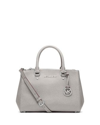 Sutton Small Saffiano Satchel Bag, Pearl Gray