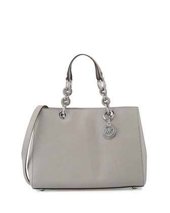 Cynthia Medium Saffiano Satchel Bag, Pearl Gray