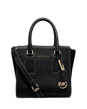Selby Medium Zip-Top Messenger Bag, Black