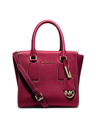 Selby Medium Zip-Top Messenger Bag, Cherry