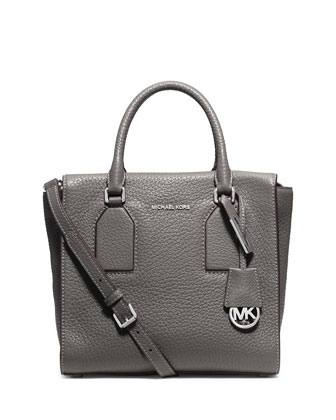 Selby Medium Zip-Top Satchel Bag, Steel Gray