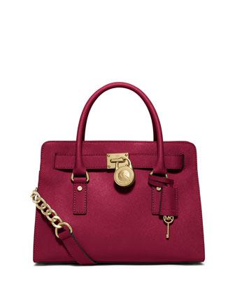 Hamilton Saffiano Satchel Bag, Cherry