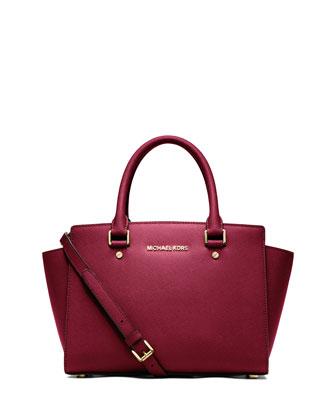 Selma Medium Top-Zip Satchel Bag, Cherry