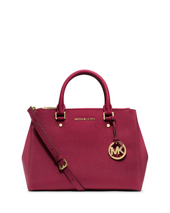 Sutton Medium Saffiano Satchel Bag, Cherry