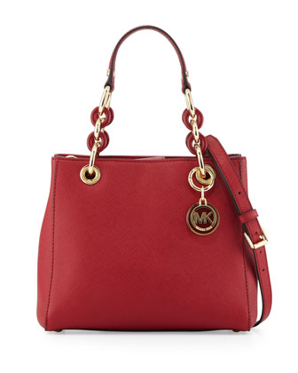 Cynthia Small Saffiano Satchel Bag, Cherry