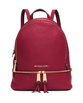 Rhea Small Leather Zip Backpack, Cherry