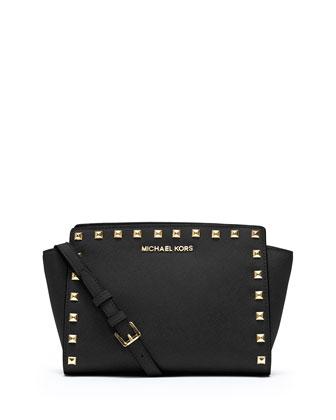 Selma Stud Medium Zip Messenger Bag, Black