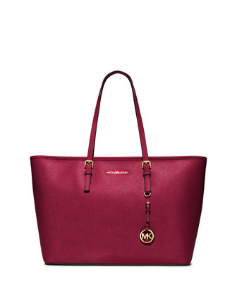 Jet Set Travel Medium Saffiano Tote Bag, Cherry