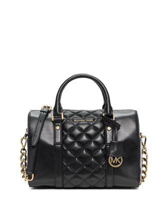 Grayson Quilted Medium Satchel Bag, Black
