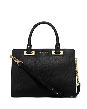 Quinn Medium Saffiano Satchel Bag, Black