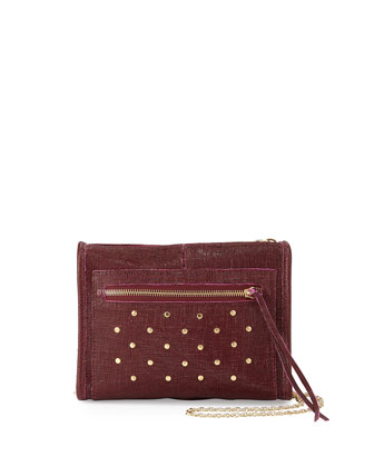 Cece Mini Studded Leather Evening Clutch Bag, Ox Blood