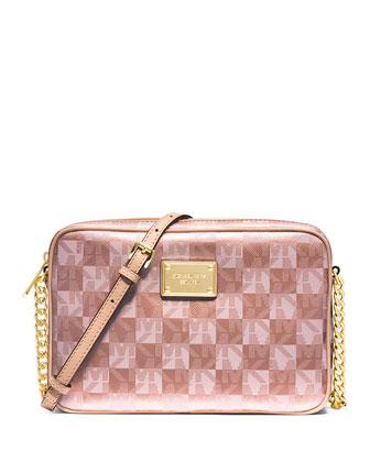 Jet Set Large Checkerboard Crossbody Bag, Rose Gold