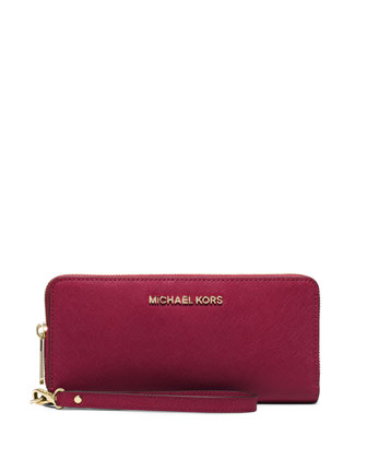 Jet Set Travel Continental Wallet, Cherry