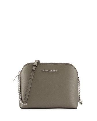 Cindy Large Dome Crossbody Bag, Nickel