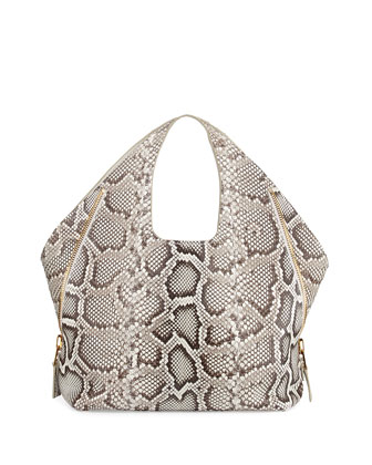 Jennifer Side-Zip Python Hobo Bag