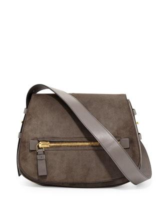 Jennifer Medium Suede Saddle Bag, Dark Gray