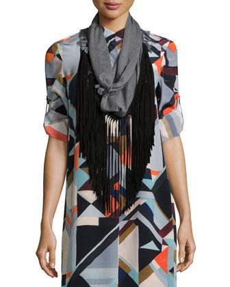 Geometric-Print Silk Shirtdress & Infinity Fringe Scarf