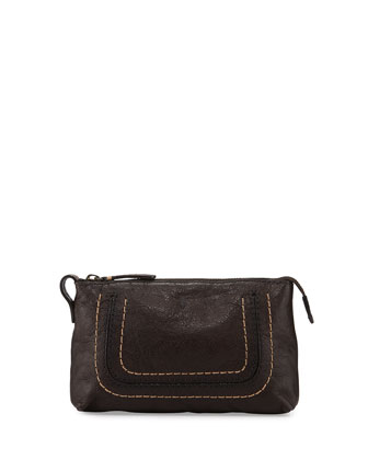Anna Leather Travel Pouch, Charcoal